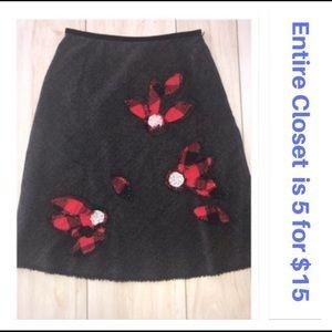 Free People Herringbone Plaid Flower A-line Skirt